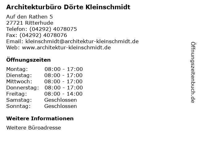 Architekturbüro Dörte Kleinschmidt in Ritterhude: Adresse und Öffnungszeiten