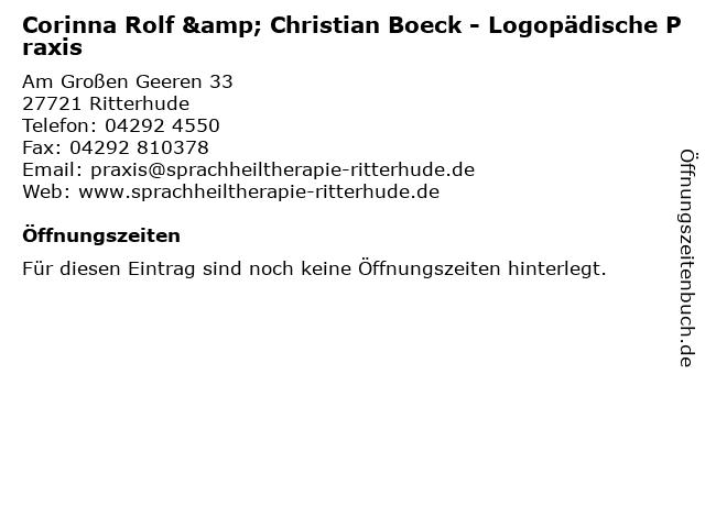 Corinna Rolf & Christian Boeck - Logopädische Praxis in Ritterhude: Adresse und Öffnungszeiten