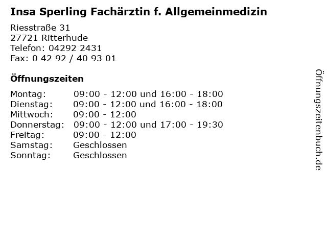 Insa Sperling Fachärztin f. Allgemeinmedizin in Ritterhude: Adresse und Öffnungszeiten