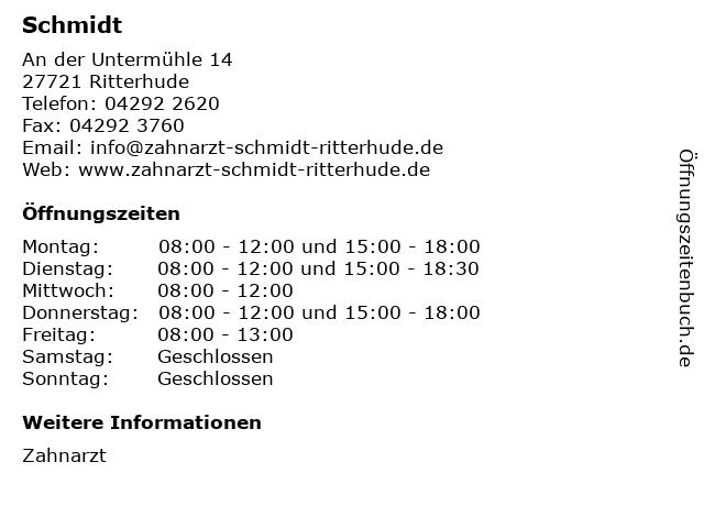 Schmidt in Ritterhude: Adresse und Öffnungszeiten
