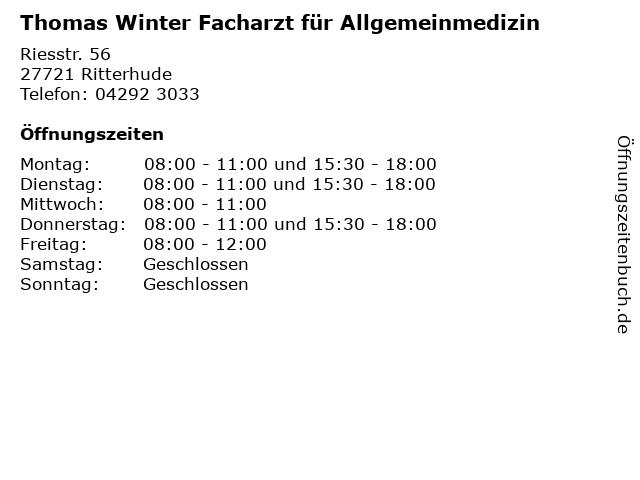 Thomas Winter Facharzt für Allgemeinmedizin in Ritterhude: Adresse und Öffnungszeiten