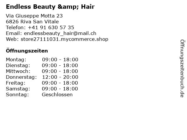 Endless Beauty & Hair in Riva San Vitale: Adresse und Öffnungszeiten