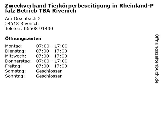 Zweckverband Tierkörperbeseitigung in Rheinland-Pfalz Betrieb TBA Rivenich in Rivenich: Adresse und Öffnungszeiten