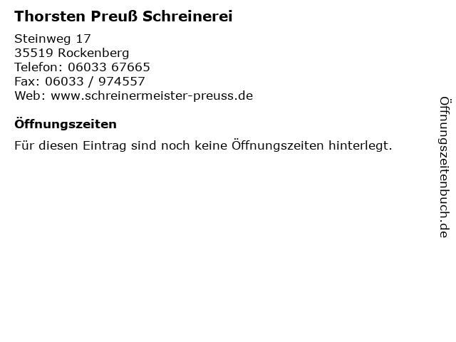 Thorsten Preuß Schreinerei in Rockenberg: Adresse und Öffnungszeiten