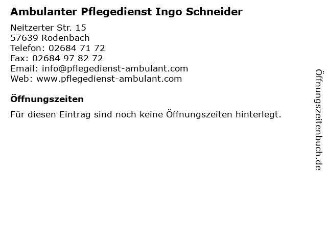 Ambulanter Pflegedienst Ingo Schneider in Rodenbach: Adresse und Öffnungszeiten