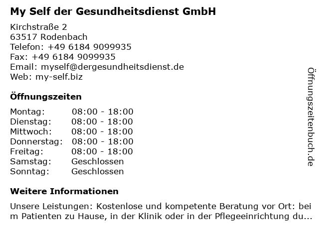 My Self der Gesundheitsdienst GmbH in Rodenbach: Adresse und Öffnungszeiten