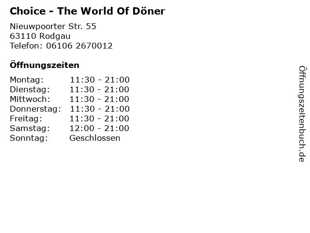 Choice - The World Of Döner in Rodgau: Adresse und Öffnungszeiten