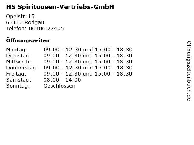 HS Spirituosen-Vertriebs-GmbH in Rodgau: Adresse und Öffnungszeiten