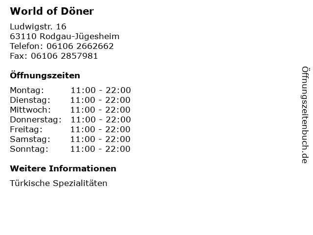 World of Döner in Rodgau-Jügesheim: Adresse und Öffnungszeiten