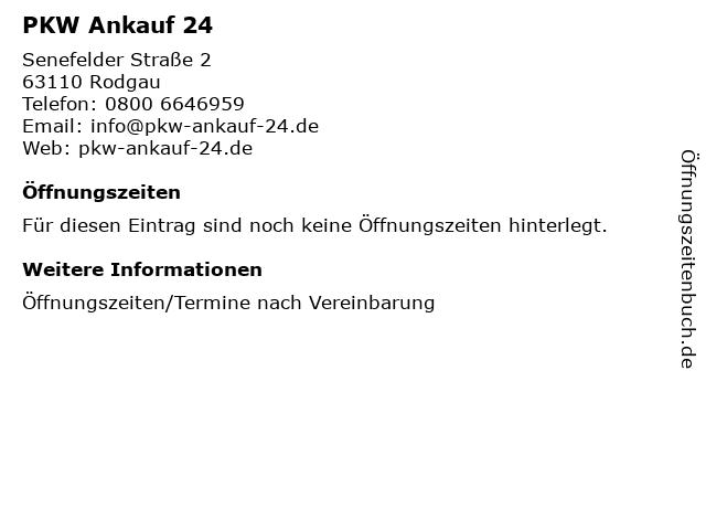PKW Ankauf 24 in Rodgau: Adresse und Öffnungszeiten