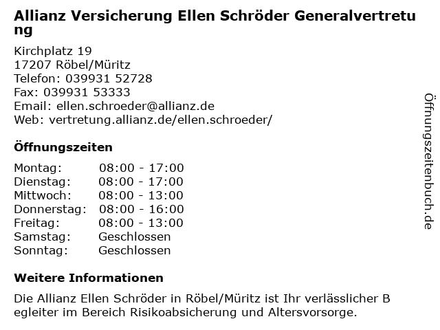 Allianz Versicherung - Generalvertretung Ellen Schröder in Röbel/Müritz: Adresse und Öffnungszeiten