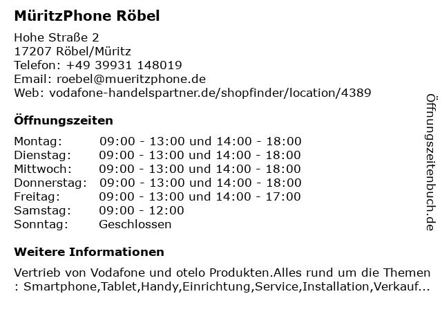 MüritzPhone Röbel in Röbel/Müritz: Adresse und Öffnungszeiten