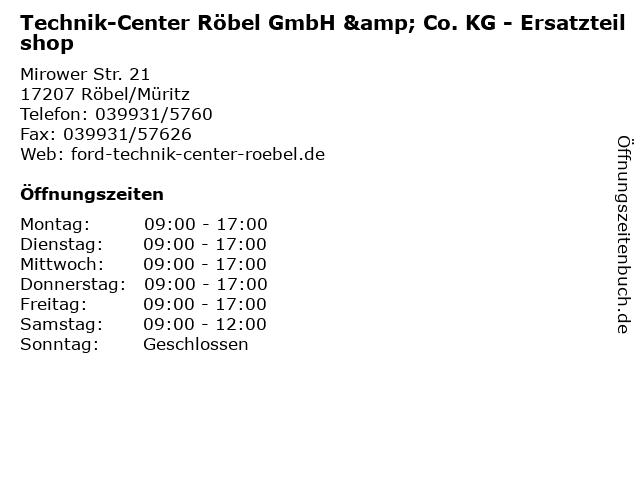 Technik-Center Röbel GmbH & Co. KG - Ersatzteilshop in Röbel/Müritz: Adresse und Öffnungszeiten