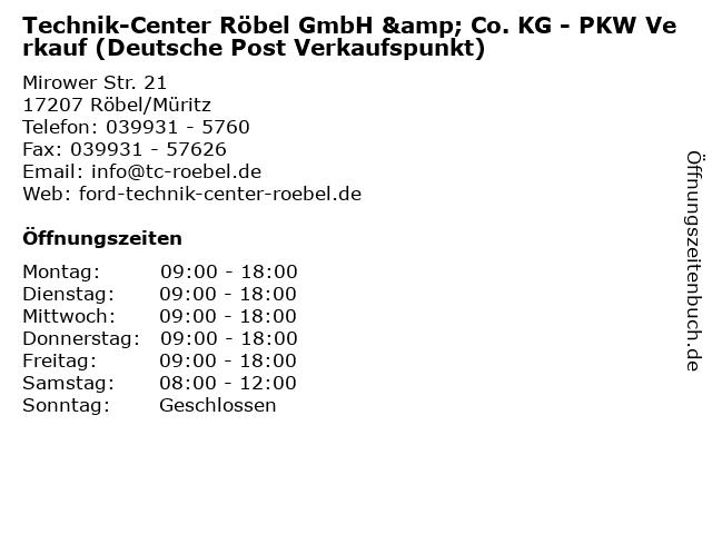 Technik-Center Röbel GmbH & Co. KG - PKW Verkauf (Deutsche Post Verkaufspunkt) in Röbel/Müritz: Adresse und Öffnungszeiten