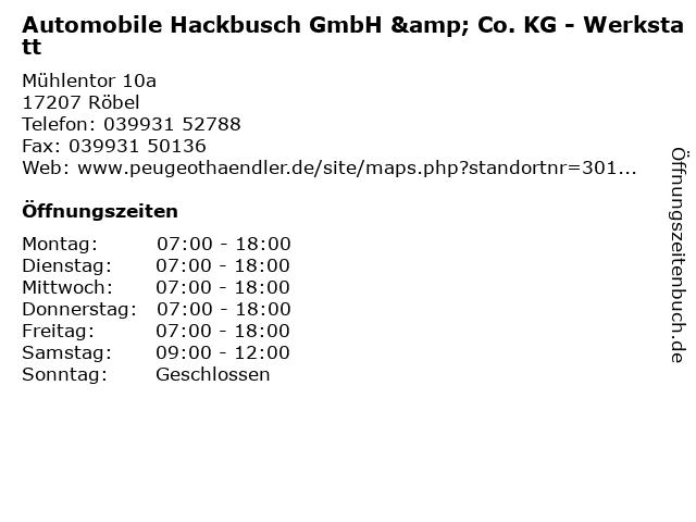 Automobile Hackbusch GmbH & Co. KG - Werkstatt in Röbel: Adresse und Öffnungszeiten