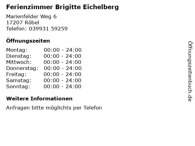 Ferienzimmer Brigitte Eichelberg in Röbel: Adresse und Öffnungszeiten
