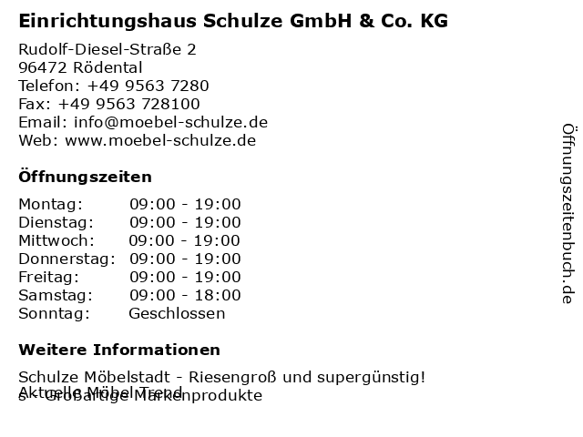 ᐅ öffnungszeiten Einrichtungshaus Schulze Gmbh Co Kg Rudolf