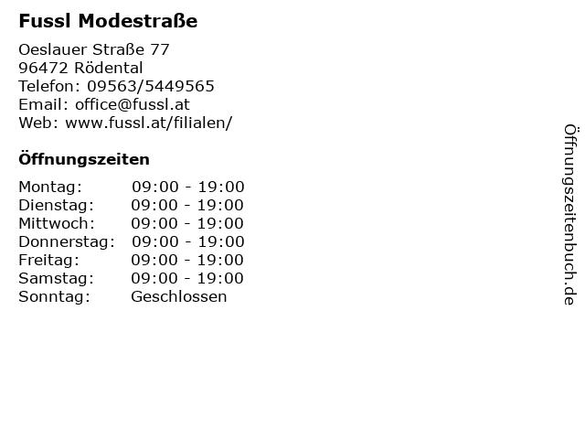 Fussl Modestraße in Rödental: Adresse und Öffnungszeiten