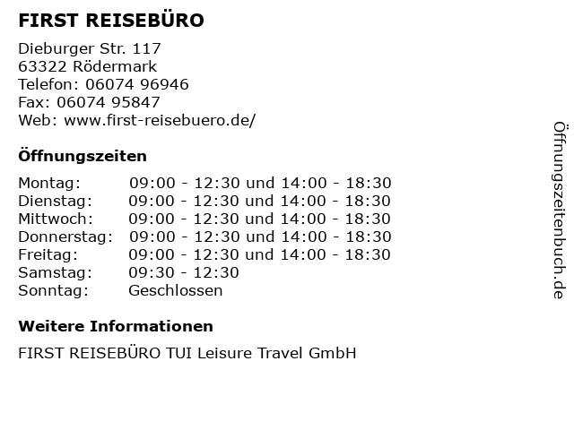 FIRST REISEBÜRO in Rödermark: Adresse und Öffnungszeiten