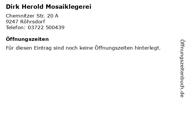 Dirk Herold Mosaiklegerei in Röhrsdorf: Adresse und Öffnungszeiten