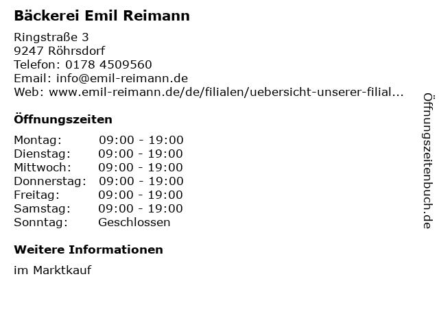Emil Reimann GmbH Marktkauf in Röhrsdorf: Adresse und Öffnungszeiten