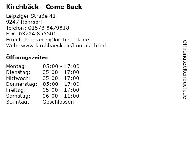 Kirchbäck - Come Back in Röhrsorf: Adresse und Öffnungszeiten