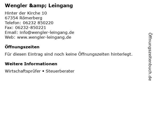 Wengler & Leingang in Römerberg: Adresse und Öffnungszeiten
