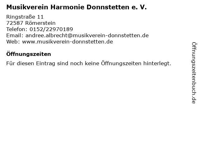 Musikverein Harmonie Donnstetten e. V. in Römerstein: Adresse und Öffnungszeiten