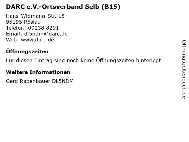 DARC e.V.-Ortsverband Selb (B15) in Röslau: Adresse und Öffnungszeiten