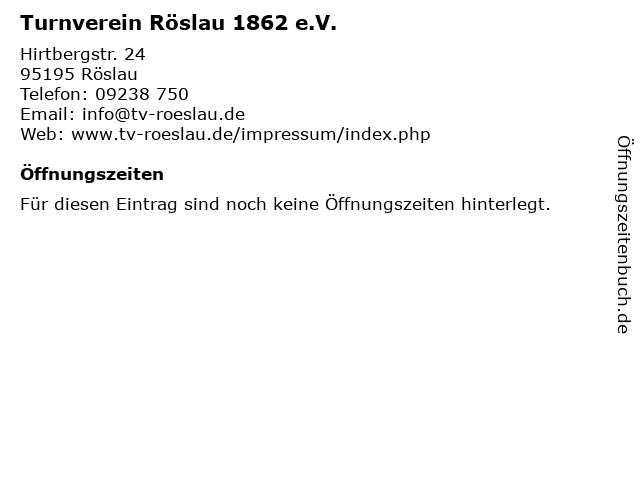 Turnverein Röslau 1862 e.V. in Röslau: Adresse und Öffnungszeiten