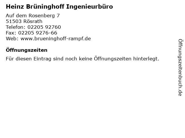 Heinz Brüninghoff Ingenieurbüro in Rösrath: Adresse und Öffnungszeiten