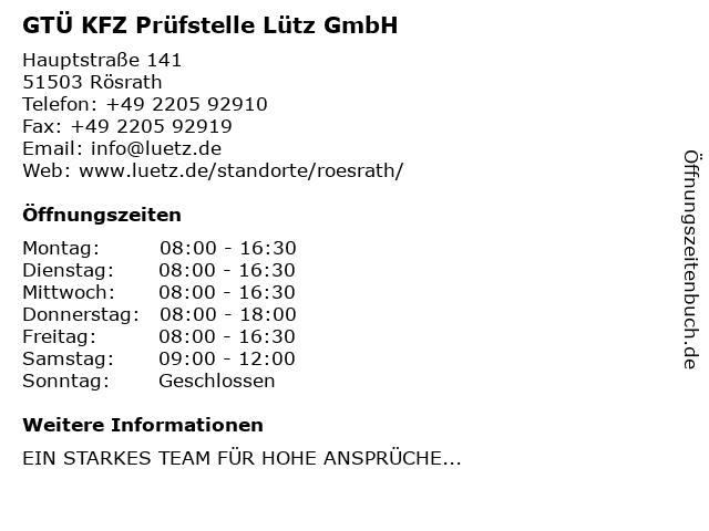 Kfz.-Sachverständigenbüro Dipl.-Ing. Winfried Lütz GmbH in Rösrath: Adresse und Öffnungszeiten