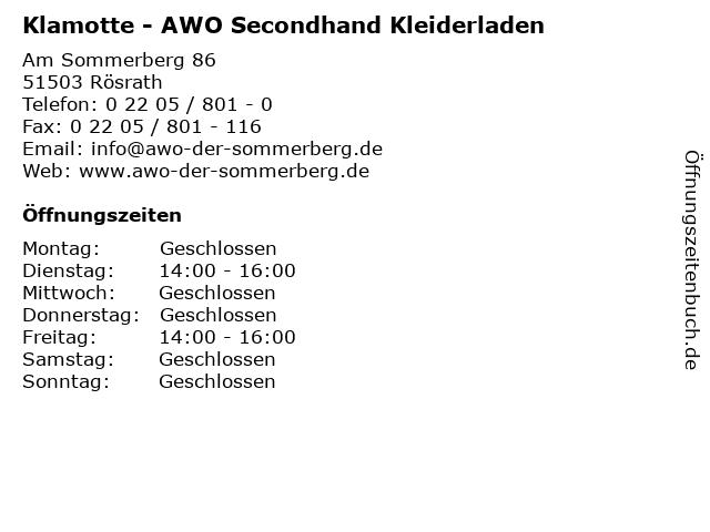 Klamotte - AWO Secondhand Kleiderladen in Rösrath: Adresse und Öffnungszeiten