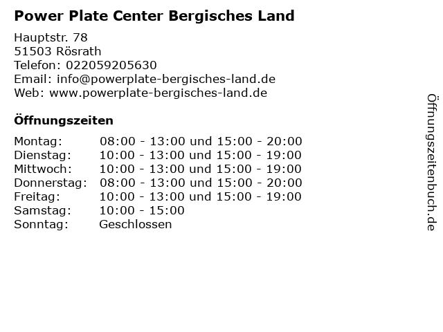 Power Plate Center Bergisches Land in Rösrath: Adresse und Öffnungszeiten