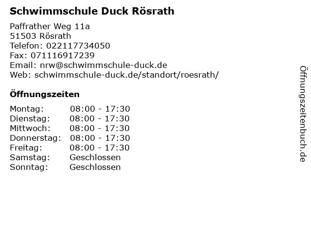 Schwimmschule Duck Rösrath in Rösrath: Adresse und Öffnungszeiten