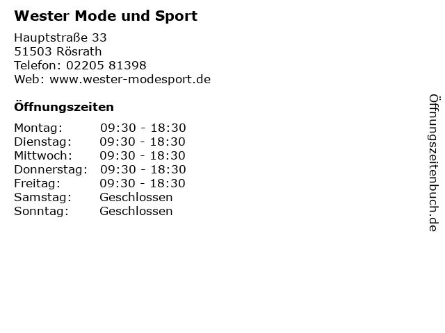 Wester Mode und Sport in Rösrath: Adresse und Öffnungszeiten