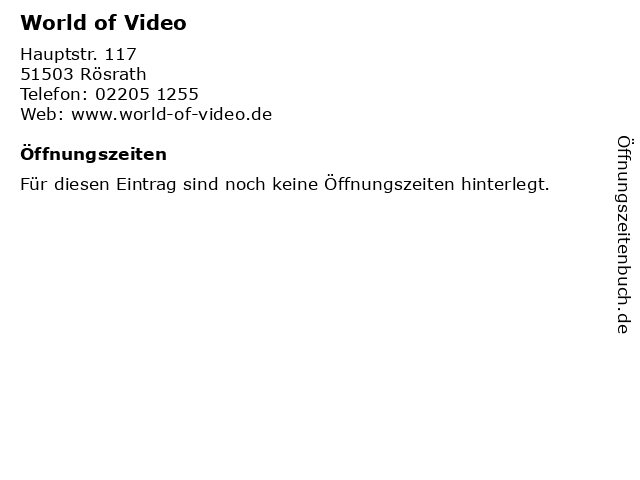 World of Video in Rösrath: Adresse und Öffnungszeiten