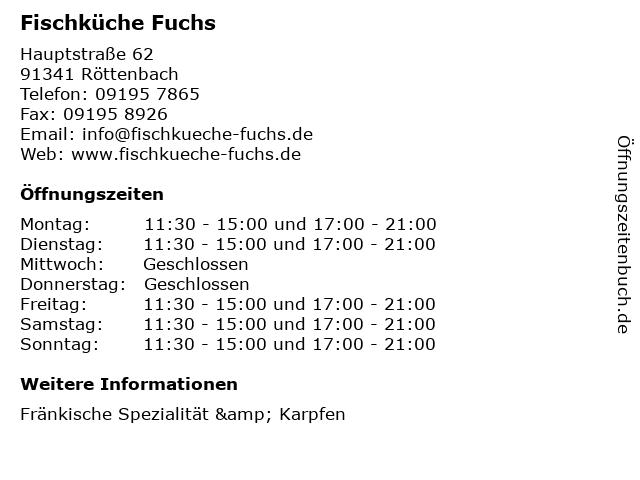 Fischküche Fuchs in Röttenbach: Adresse und Öffnungszeiten