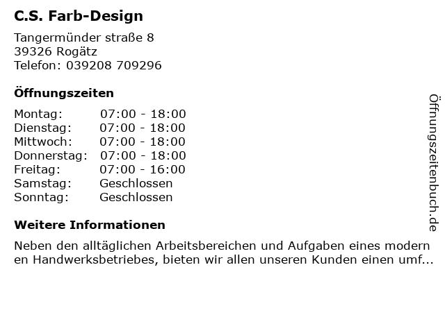 C.S. Farb-Design in Rogätz: Adresse und Öffnungszeiten