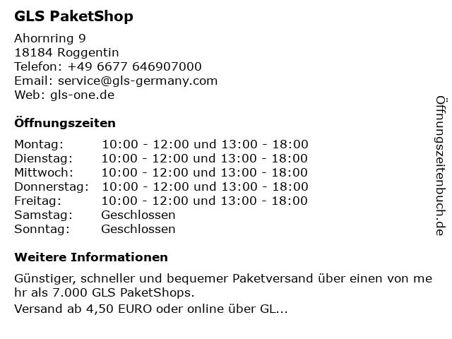 GLS PaketShop in Roggentin: Adresse und Öffnungszeiten