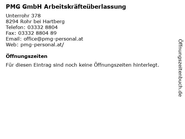 PMG GmbH Arbeitskräfteüberlassung in Rohr bei Hartberg: Adresse und Öffnungszeiten