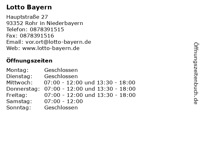 Lotto Bayern in Rohr in Niederbayern: Adresse und Öffnungszeiten