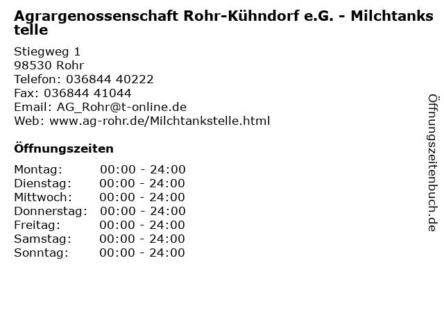Agrargenossenschaft Rohr-Kühndorf e.G. - Milchtankstelle in Rohr: Adresse und Öffnungszeiten