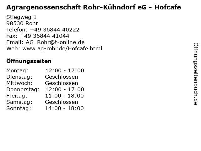 Agrargenossenschaft Rohr-Kühndorf eG - Hofcafe in Rohr: Adresse und Öffnungszeiten