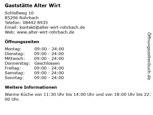 Gaststätte Alter Wirt in Rohrbach: Adresse und Öffnungszeiten
