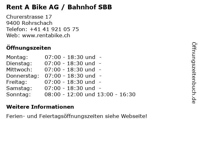 Rent A Bike AG / Bahnhof SBB in Rohrschach: Adresse und Öffnungszeiten