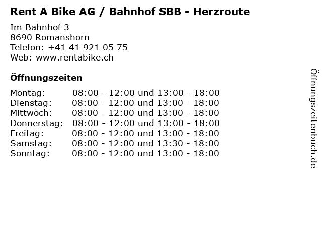 Rent A Bike AG / Bahnhof SBB - Herzroute in Romanshorn: Adresse und Öffnungszeiten