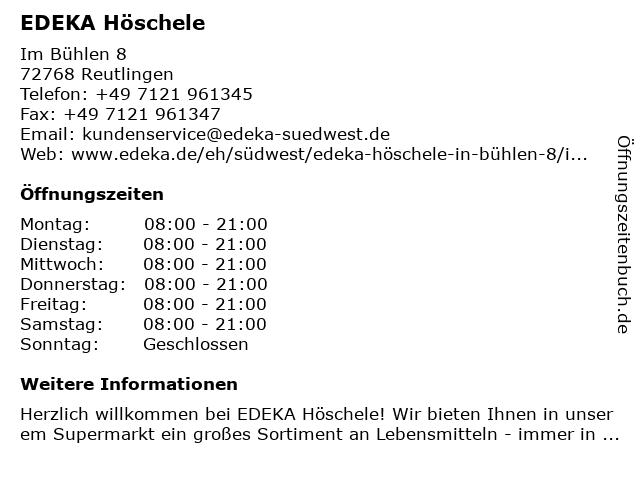 EDEKA Höschele in Rommelsbach: Adresse und Öffnungszeiten