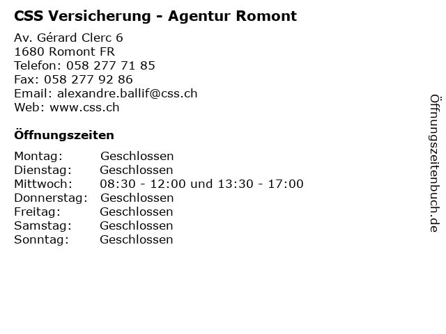 CSS Versicherung - Agentur Romont in Romont FR: Adresse und Öffnungszeiten