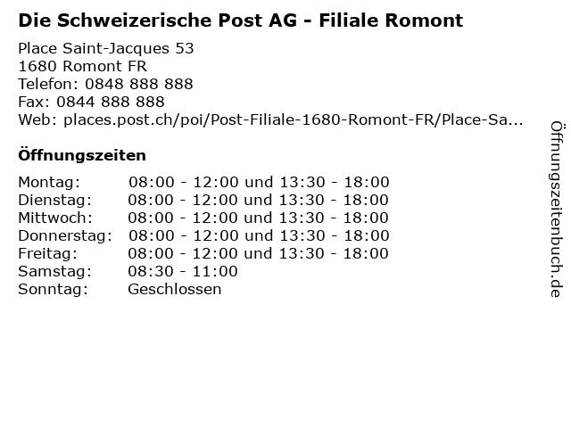 Die Schweizerische Post AG - Filiale Romont in Romont FR: Adresse und Öffnungszeiten